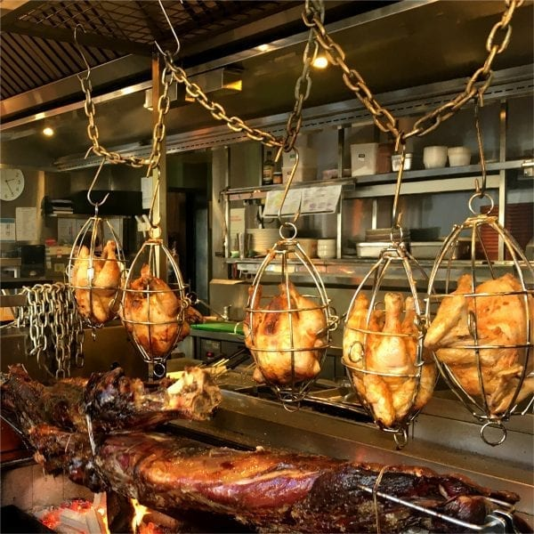 Roasting chickens in Poultry cages